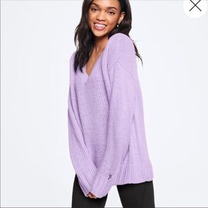 vs pink boyfriend v neck sweater lg lilac